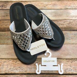 Gold Toe Bling Wedge Thong Sandal. NWT